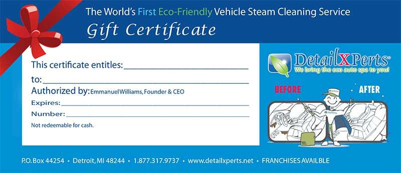 Car Wash Gift Certificate