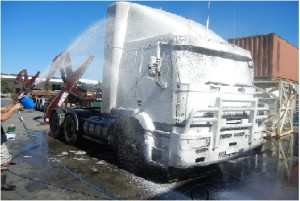 Truck exterior washing in cold weather