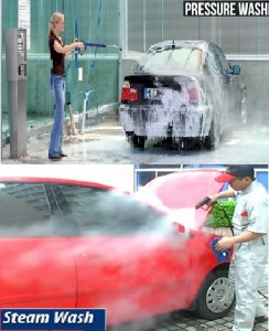 Distinction between car pressure wash and steam cleaning